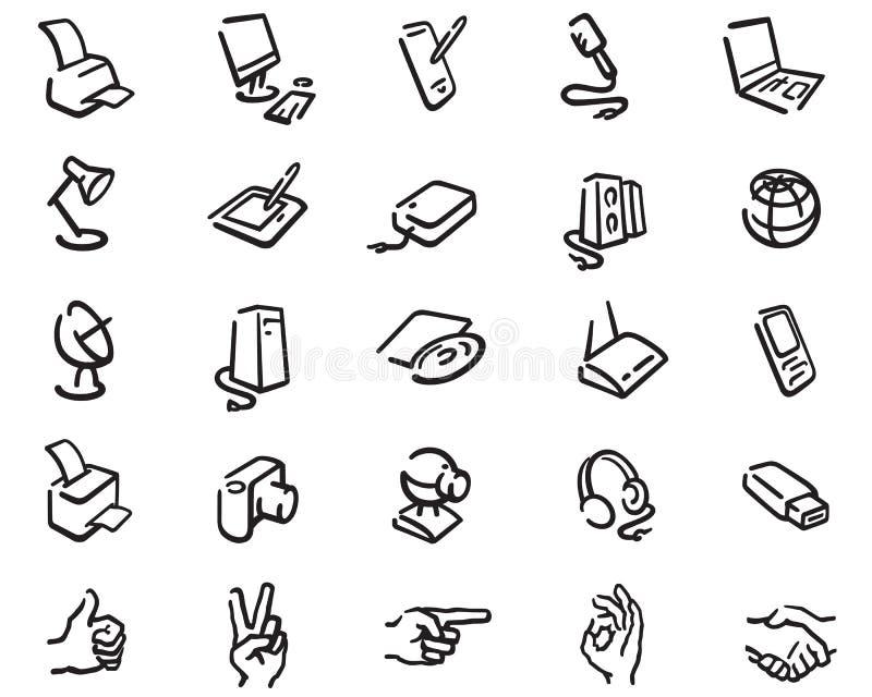 Översiktssymboler av kontorsutrustning arkivbild