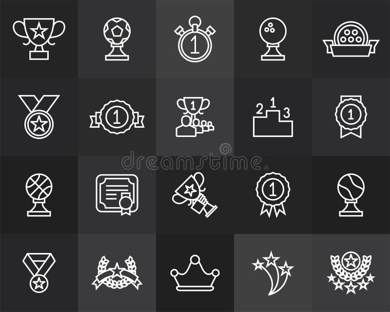 Översiktssymboler gör framlänges designen, den moderna linjen slaglängd tunnare stock illustrationer