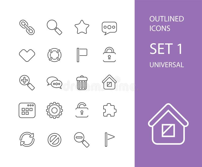Översiktssymboler gör framlänges designen, den moderna linjen slaglängd tunnare royaltyfri illustrationer
