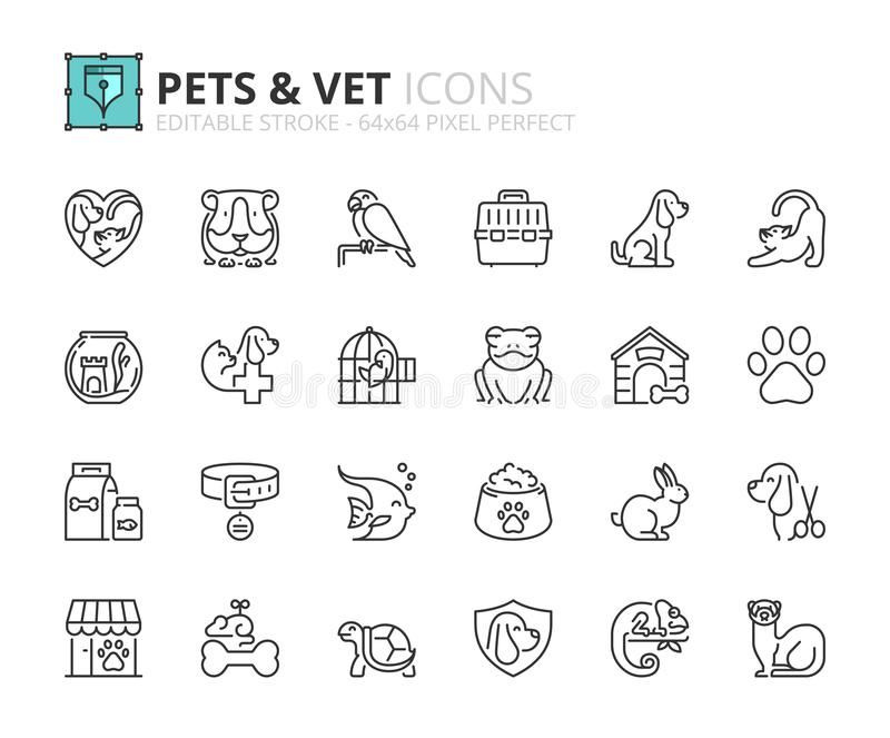 Översiktssymboler om husdjur och veterinär vektor illustrationer