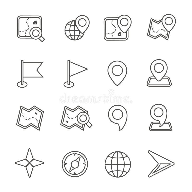 Översiktssymboler på vit bakgrund vektor stock illustrationer