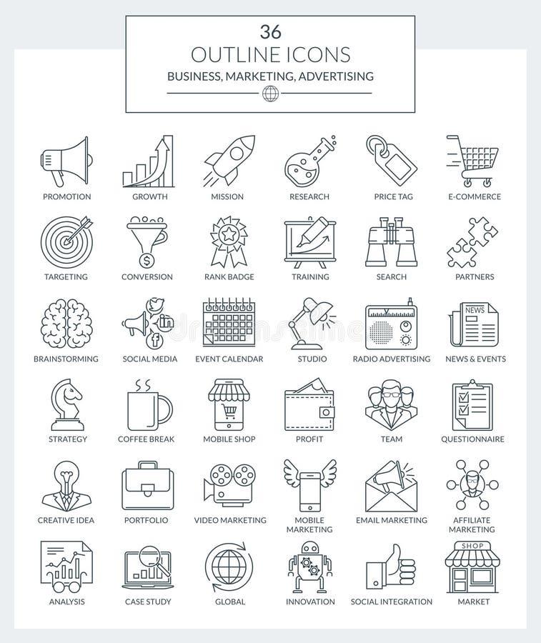 Översiktssymbolsaffär och marknadsföring vektor illustrationer