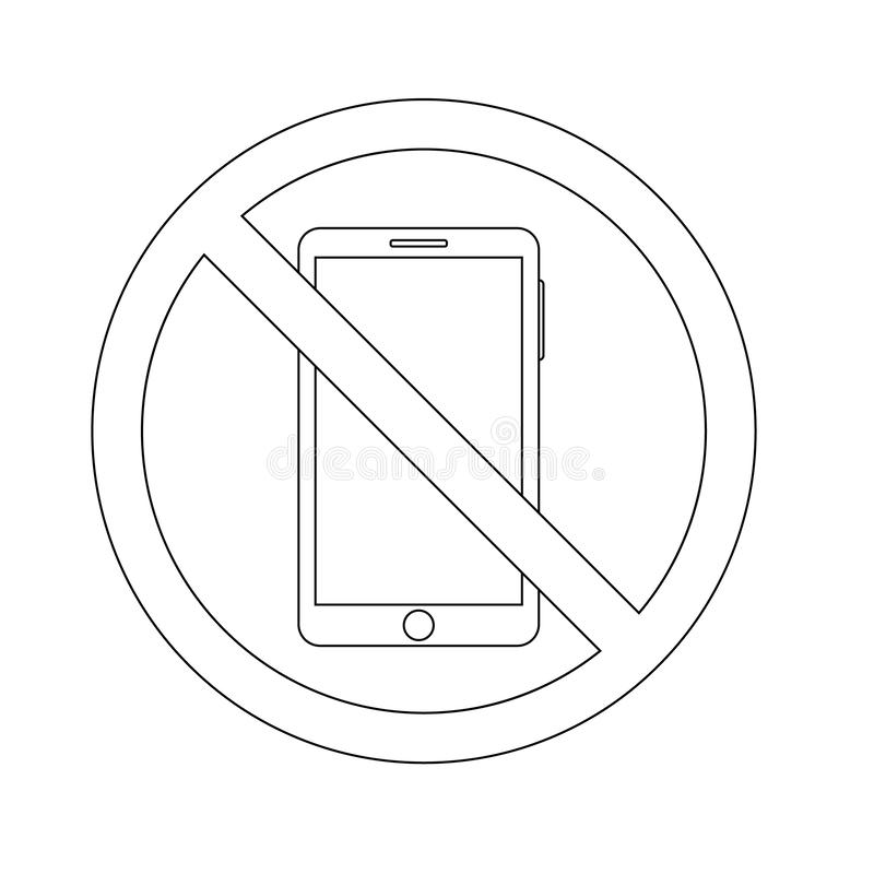 Översiktssymbolsförbud av att använda en smartphone telefonbegreppsvektor vektor illustrationer