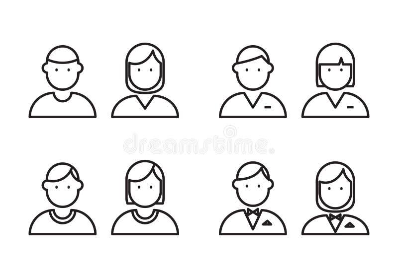 Översiktssymbolsfolk, vektor royaltyfri illustrationer