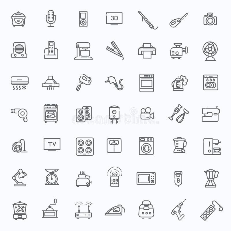 Översiktssymbolssamling - hushållanordningar royaltyfri illustrationer