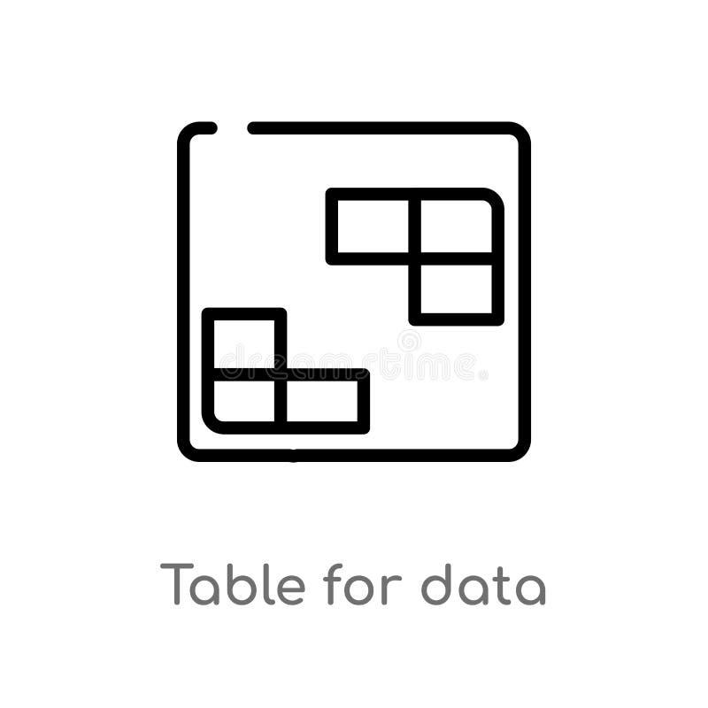 översiktstabell för symbol för datavektor isolerad svart enkel linje best?ndsdelillustration fr?n anv?ndargr?nssnittbegrepp Redig royaltyfri illustrationer