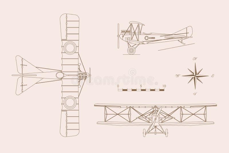 Översiktsteckning av det militära retro flygplanet på en vit bakgrund royaltyfri illustrationer
