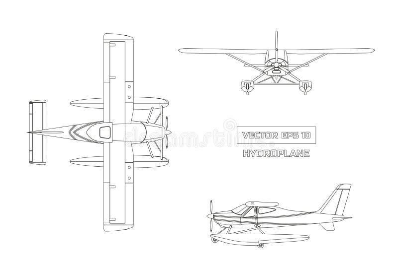 Översiktsteckning av nivån i en plan stil på en grå bakgrund Lastflygplan Överkant-, framdel- och sidosikt vektor illustrationer