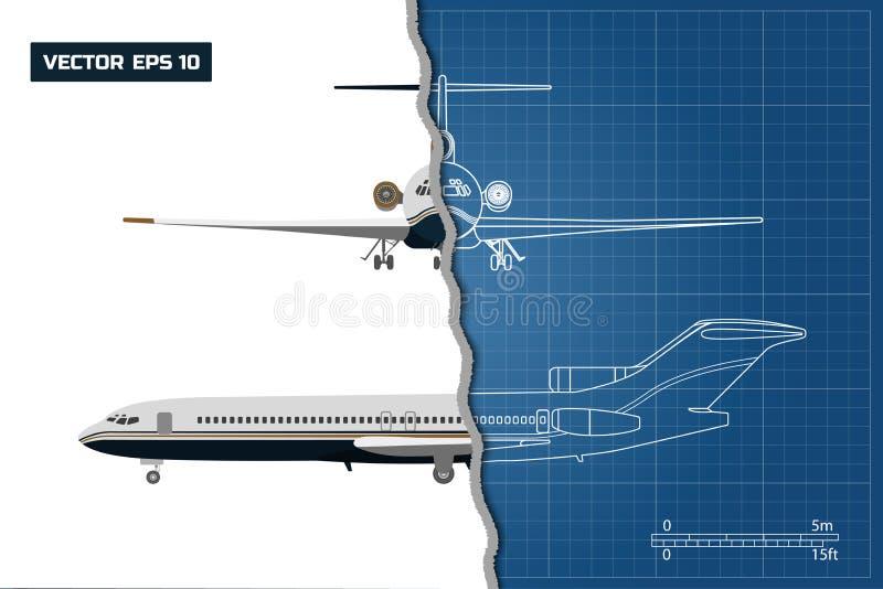 Översiktsteckning av nivån på en blå bakgrund Industriell ritning av flygplanet royaltyfri illustrationer
