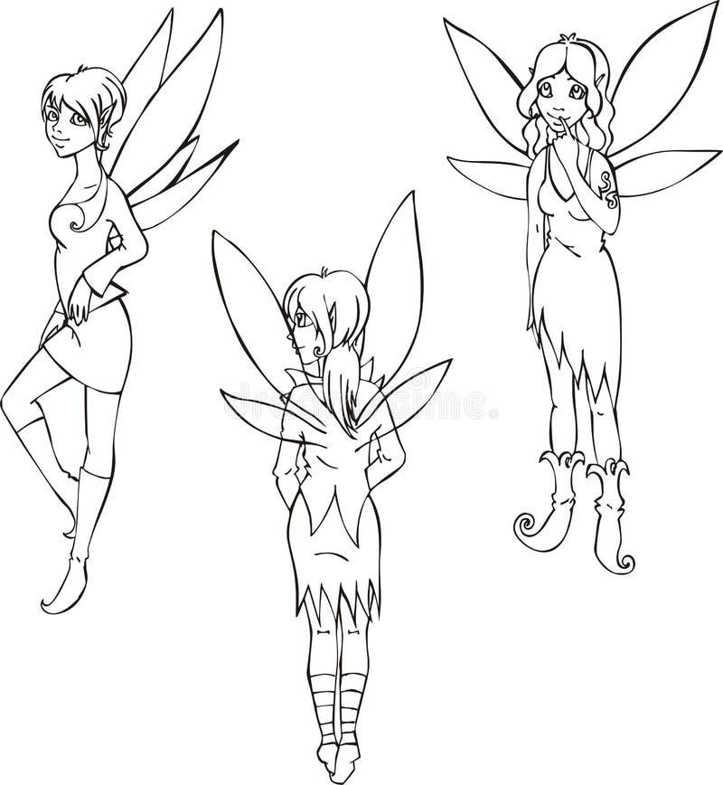 Översiktsuppsättning av gulliga feer vektor illustrationer