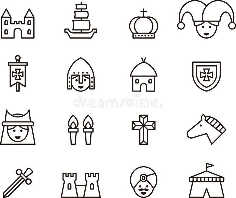 Översiktsuppsättning av medeltida symboler vektor illustrationer