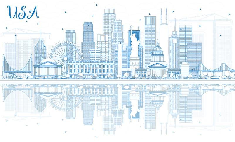 ÖversiktsUSA horisont med blåa skyskrapor och gränsmärken vektor illustrationer