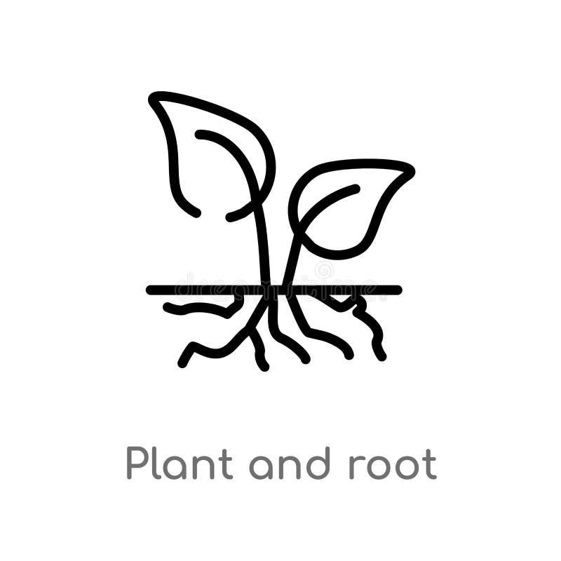 översiktsväxt och att rota vektorsymbolen isolerad svart enkel linje beståndsdelillustration från ekologibegrepp Redigerbar vekto stock illustrationer