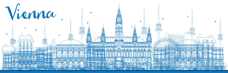 ÖversiktsWien horisont med blåa byggnader royaltyfri illustrationer