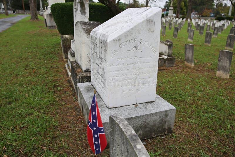 Överste George S Patton Grave sidosikt, Winchester, Virginia arkivbild
