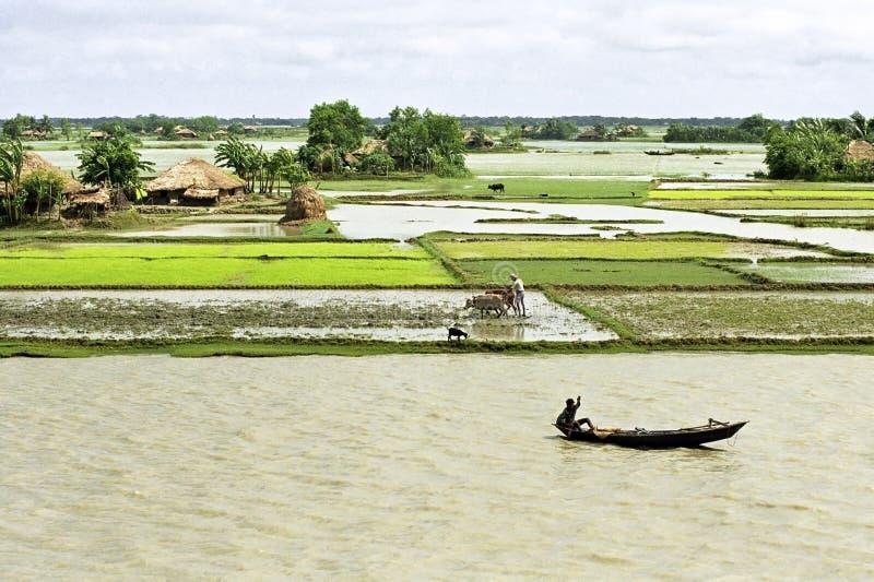 Översvämma i deltan Bangladesh, klimatförändringar royaltyfria bilder