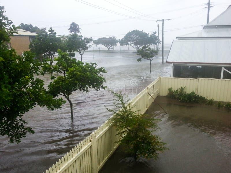 Översvämmad Brisbane gata arkivbild
