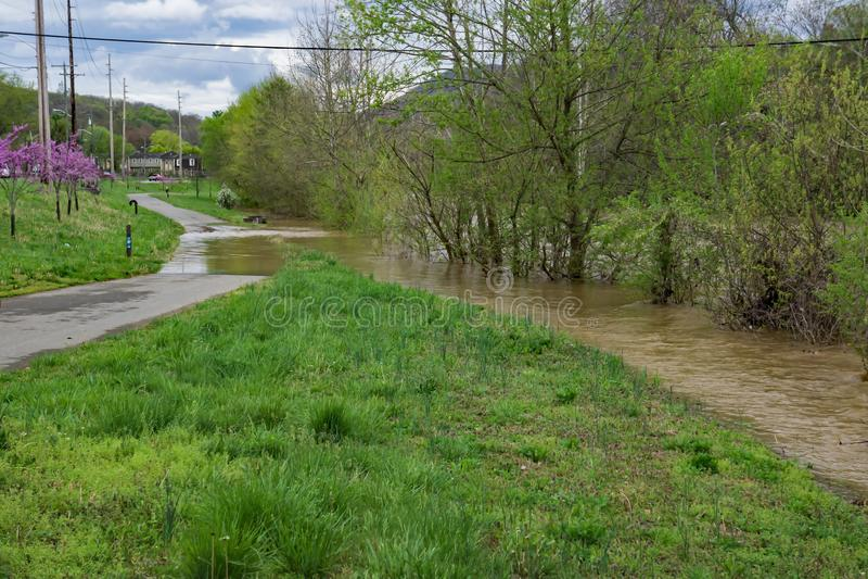 Översvämmad Roanoke flodGreenway arkivfoto