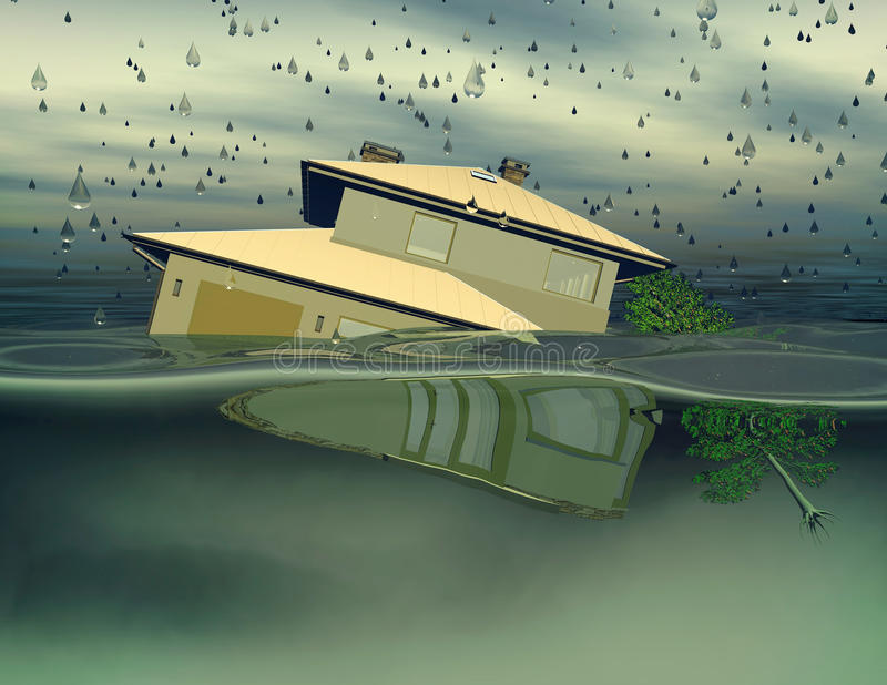 Översvämmat hus under illustration för vatten 3D vektor illustrationer