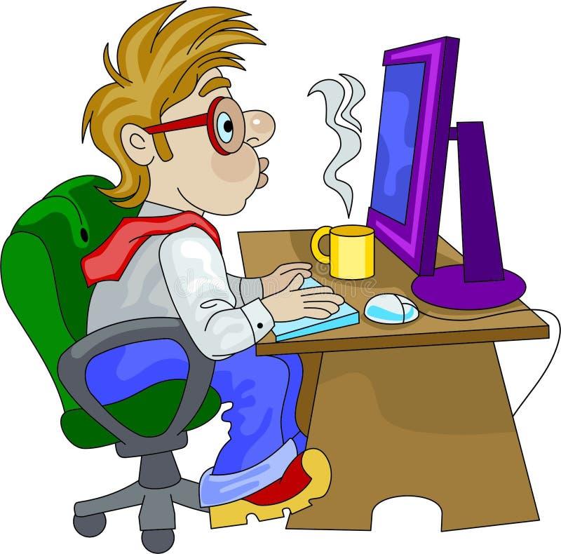 övertids- working för anställdkontor vektor illustrationer