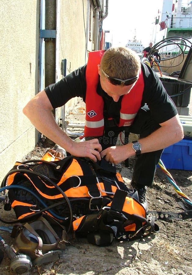 Övervaka dykenheten på händelsen, sökandet och återställningen arkivbild