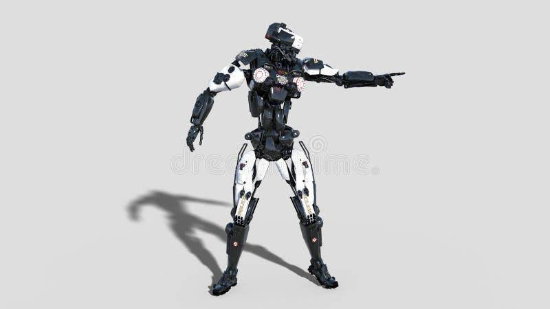 Övervaka roboten, rättsskipningcyborgen som pekar, androidsnuten som isoleras på vit bakgrund, 3D framför royaltyfri illustrationer