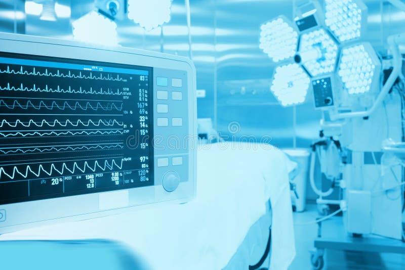 Övervakning av patienten i kirurgiskt fungeringsrum arkivfoto