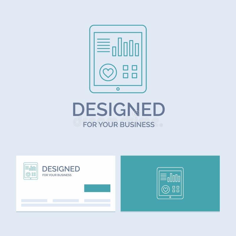övervakning hälsa, hjärta, puls, tålmodig rapportaffär Logo Line Icon Symbol för din affär Turkosaff?rskort med vektor illustrationer