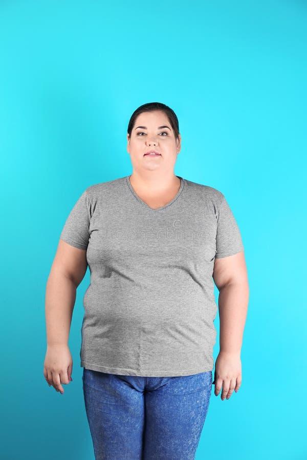 Överviktig kvinna för viktförlust royaltyfria foton