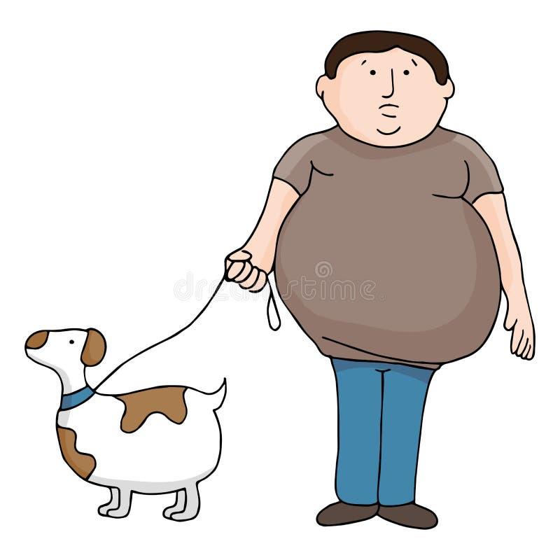 Överviktig man och hund vektor illustrationer