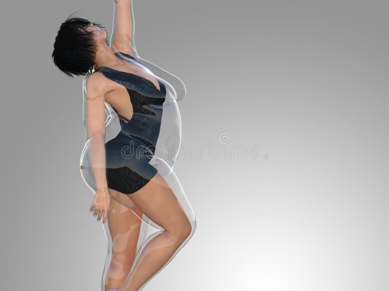 Överviktig sjukligt fet kvinnlig vs slank färdig sund kropp efter viktförlust eller att banta med den tunna unga kvinnan för musk royaltyfri illustrationer