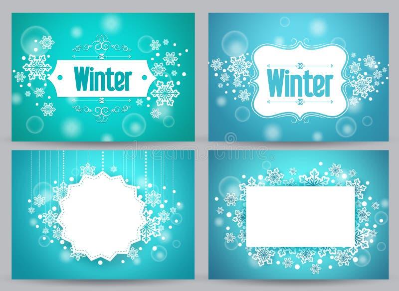 Övervintra baner och bakgrundsvektorpacken med designer vektor illustrationer
