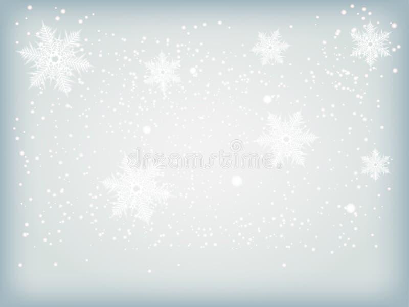Övervintra blåttbakgrund med snowflakes royaltyfri illustrationer