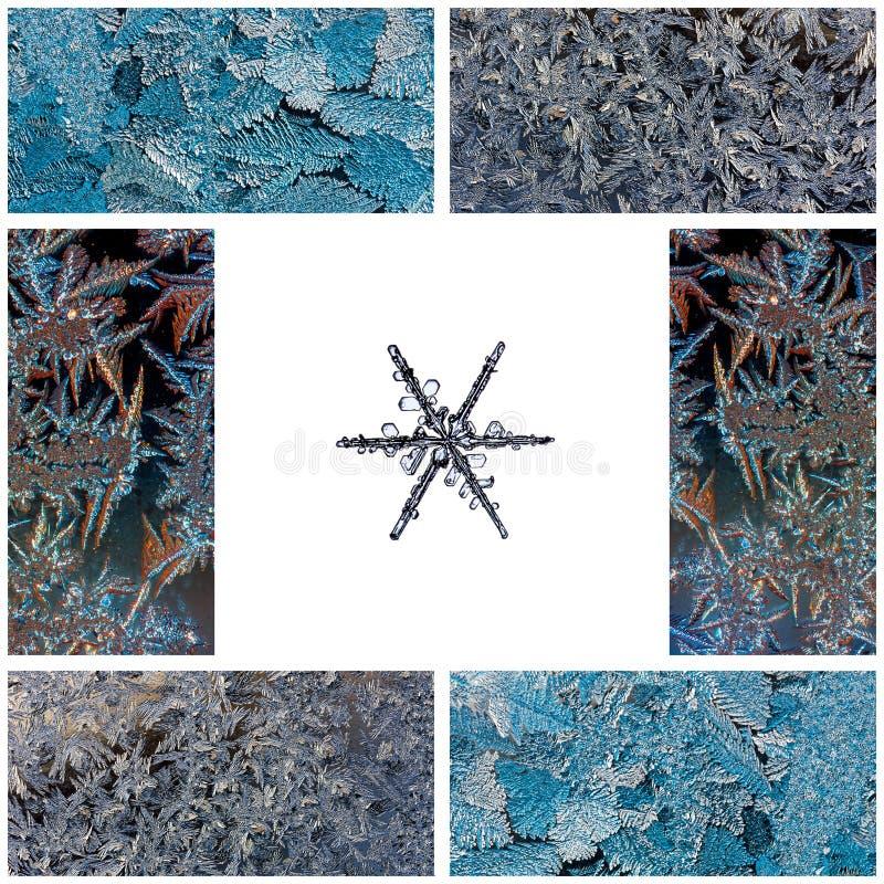 Övervintra collage av makrofoto av snöflingor på en vit bakgrund och frostiga modeller på exponeringsglas arkivbild