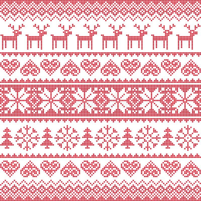 Övervintra den röda sömlösa pixelated modellen för jul med hjortar stock illustrationer