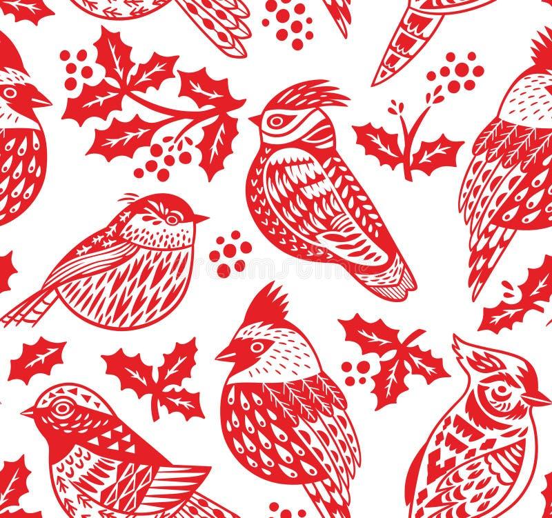 Övervintra den sömlösa modellen med dekorativa fåglar i röda färger royaltyfri illustrationer