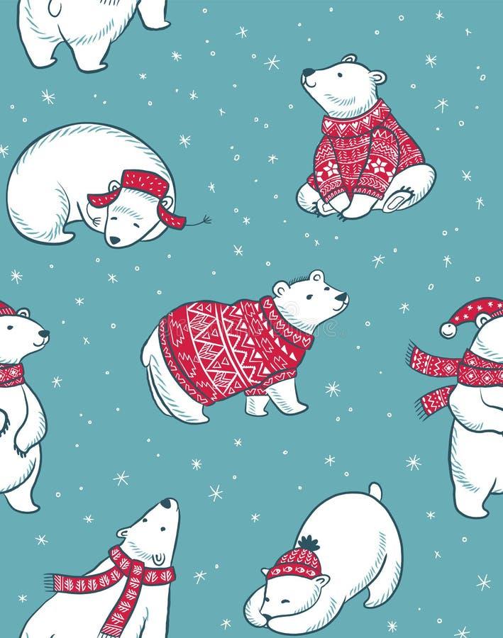 Övervintra den sömlösa modellen med isbjörnar i tecknad filmstil royaltyfri illustrationer