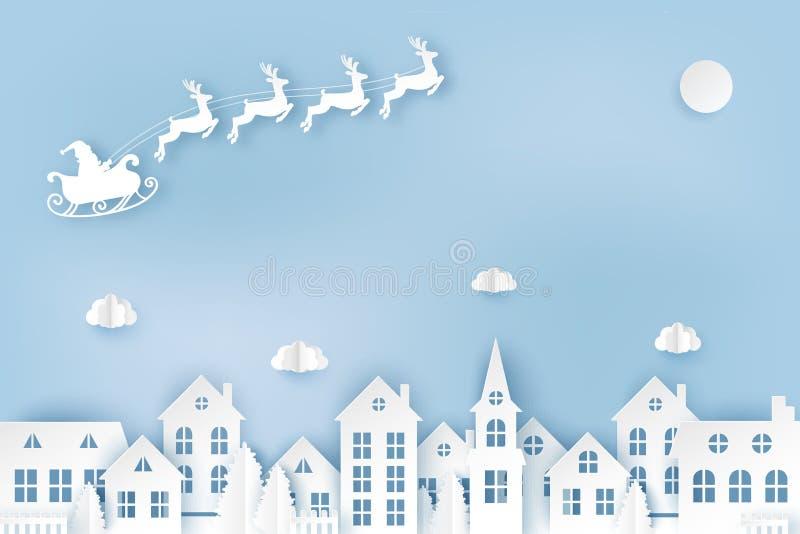 Övervintra den stads- bygdlandskapbyn med gulliga pappers- hus royaltyfri illustrationer
