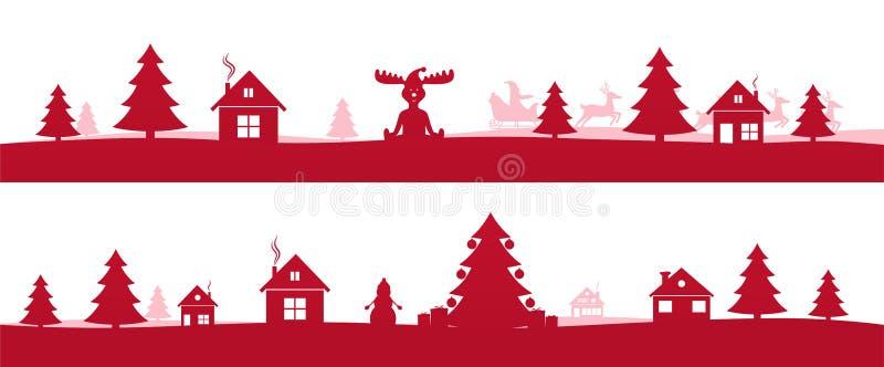 Övervintra det röda ferielandskapet med träd för Ñ-hristmas vektor illustrationer
