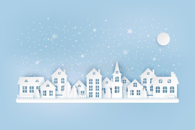 Övervintra det stads- bygdlandskapet, by med gulliga pappers- hus vektor illustrationer