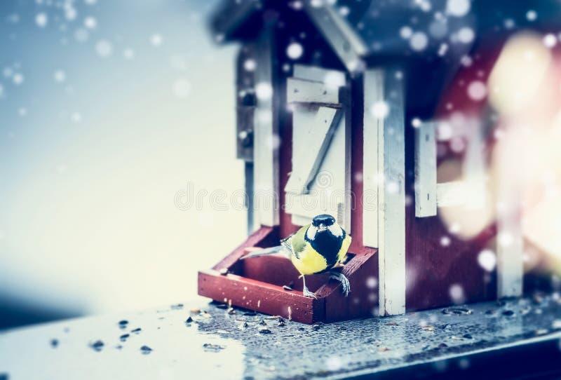 Övervintra fågelförlagematare som göras i form av huset och mesen under snö royaltyfri fotografi