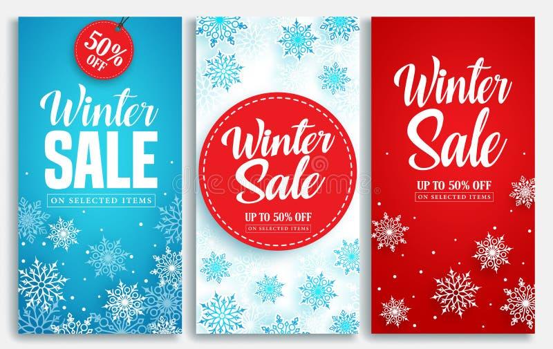 Övervintra försäljningsvektoraffischen eller baneruppsättningen med rabatttext och snöa beståndsdelar royaltyfri illustrationer
