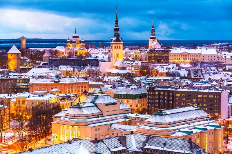 Övervintra flyg- landskap för aftonen av Tallinn, Estland royaltyfri bild