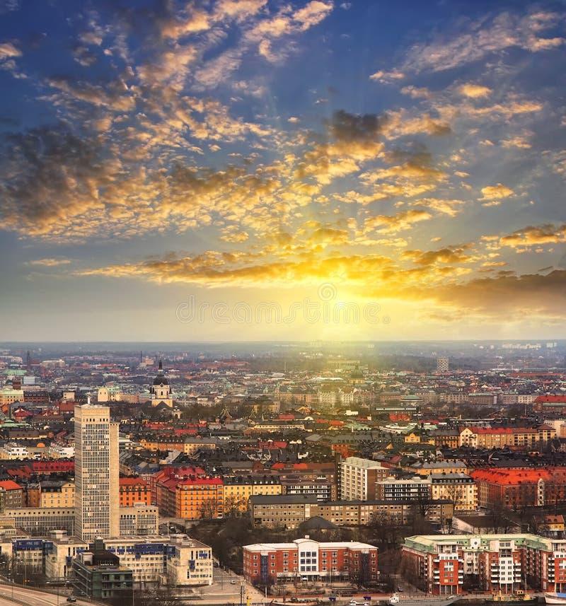 Övervintra flyg- panorama av Stockholm, Sverige royaltyfria bilder