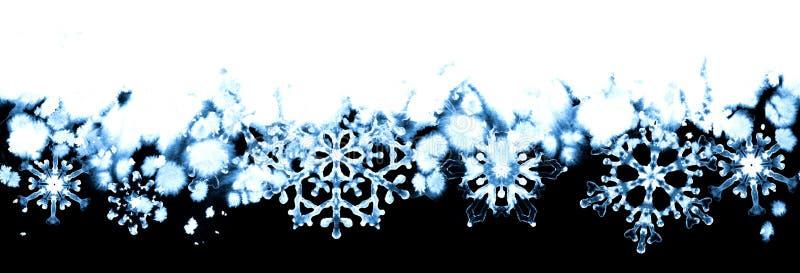 Övervintra frost med blåa snöflingor på svartvit bakgrund Hand-målad sömlös horisontalgräns stock illustrationer
