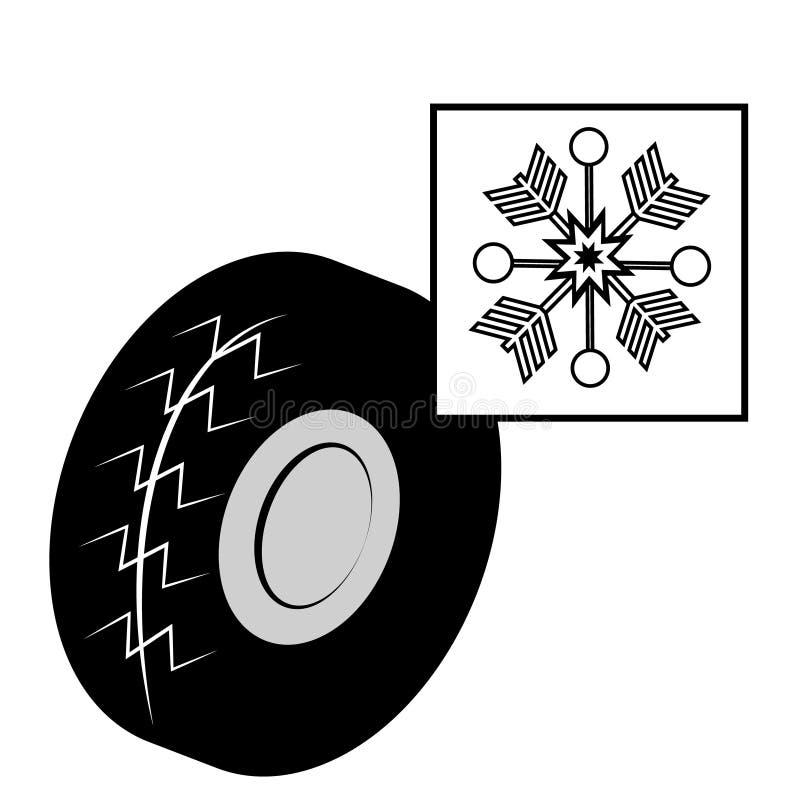 Övervintra gummihjulet med snöflingan som isoleras på vit bakgrund vektor illustrationer