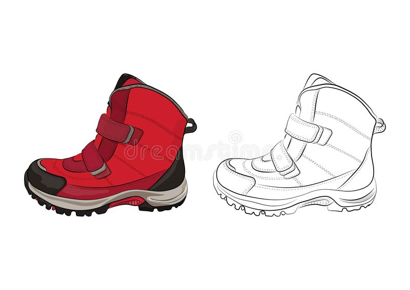 Övervintra kvinna` s och skor för barn` s på en vit bakgrund också vektor för coreldrawillustration royaltyfri illustrationer