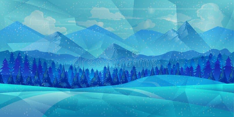 Övervintra låg poly bakgrund med vägen och polygonal granträd Landskapsäsongen, glaserar utomhus- snöfall stock illustrationer