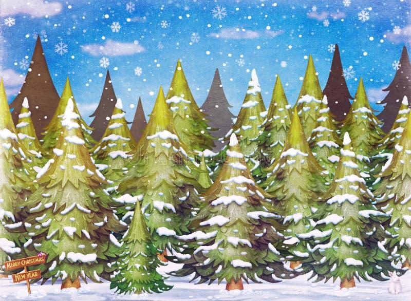 Övervintra landskapet med gröna prydliga träd i snö vektor illustrationer
