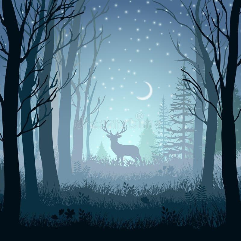 Övervintra landskapet med hjortar i skogen på nattbakgrund royaltyfri illustrationer